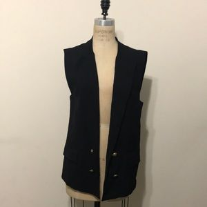 Zara Long vest black crepe gold buttons NWT